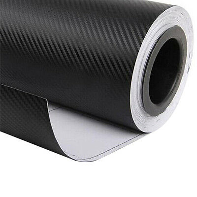"12""x50"" 3D Black Carbon Fiber Vinyl Car Wrap Sheet Roll Film Sticker DecalNF!"