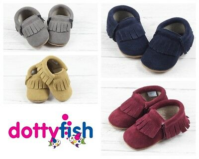 Dotty Fish Suede Moccasin Baby Toddler Infant Shoe Booties Soft Non Slip Sole