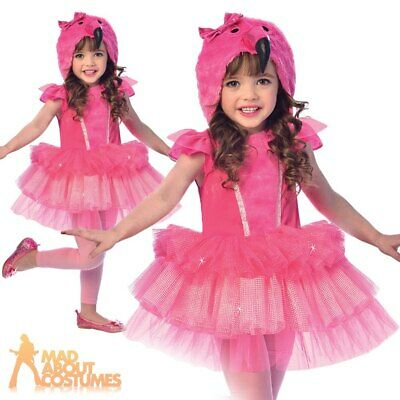 Child Flamingo Tutu Costume Girls Bird Book Day Cute Fancy Dress Outfit Kids