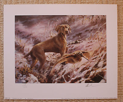 """Mick Cawston Limited Edition Signed Print  """"Weimaraner In The Snow"""""""