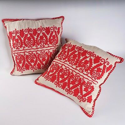 Hungarian 'Redwork' Embroidered Pillow, farmhouse cushion