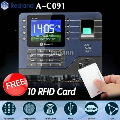 Realand A-C091 Biometric Fingerprint Time Attendance Clock TCP/IP USB + 10 Cards