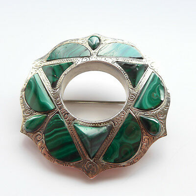 Unusual Antique Scottish Pebble Brooch Green Malachite and Silver Large C.1860's