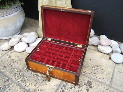 Wonderful  Large 19C Victorian Inlaid Antique Jewellery Box - Fab Interior