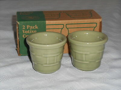 Longaberger Woven Traditions Pottery Votive Cups NIB Set of 2 SAGE 30976