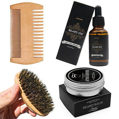 Beard Care Kit Travel Tool Set Grooming Balm Oil Mustache Comb Products Supplies