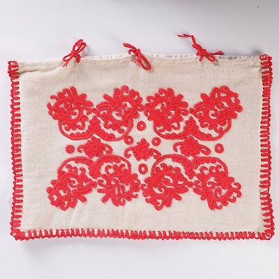 Hungarian 'Redwork' Embroidered Pillow Case