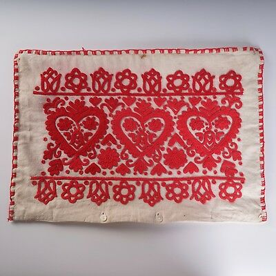 Hungarian 'Redwork' Embroidered buttoned Pillow Case