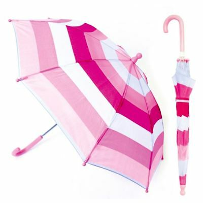 Drizzles Kids Childrens Pink Striped Plastic Umbrella Outdoor Accessory