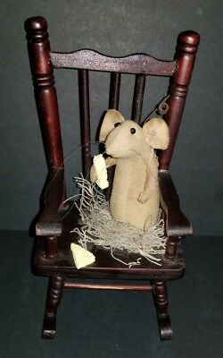 Vintage  Mouse In Wood Rocking Chair Figurine With Cheese And A Nest