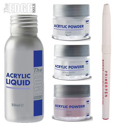 The Edge Acrylic Liquid & Powder Trial Kit for False Nail Students & Starters