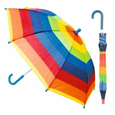 Drizzles Kids Childrens Assorted Rainbow Pink Striped Plastic Umbrella Outdoor