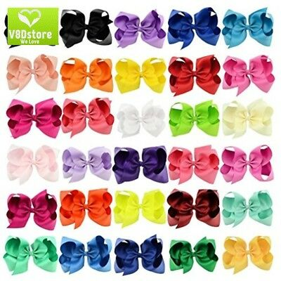 "30 Pack Grosgrain Girls Hair Bows With Alligator Clips 6"" Boutique Big Rainbow"