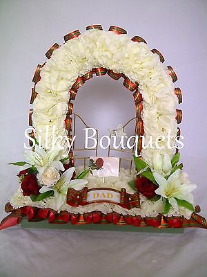 Artificial Silk Funeral Flower Gates of Heaven Tartan Memorial Tribute Wreath