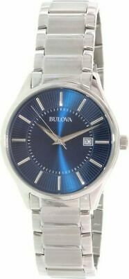 Bulova 96B181 Men's Dress Blue Dial Stainless Steel Date Quartz Watch