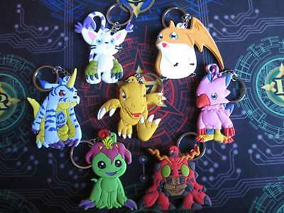 Digimon Keychain SET Agumon Gabumon Biyomon Tentomon Palmon Patamon Gatomon