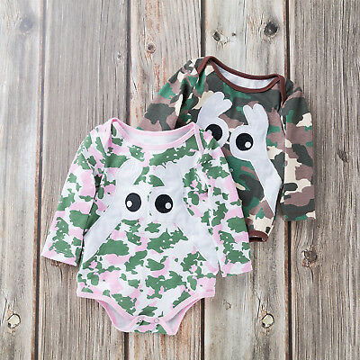 Newborn Baby Boys Girls Camo Romper Bodysuit Tops Babygrow Clothes Outfits Sets
