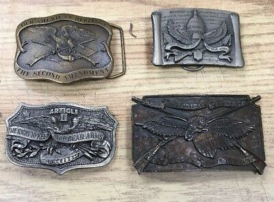 Belt Buckle Lot 4 USA 2nd Second Amendment Right to Bear Arms Vintage Brass MAGA