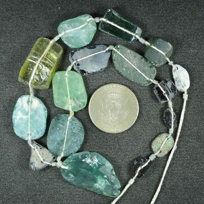 Ancient Roman Glass Beads 1 Medium Strand Aqua And Green 100 -200 Bc 964
