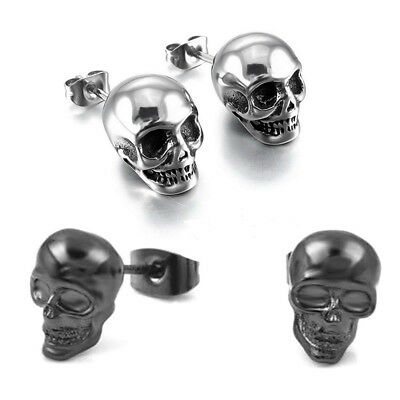 2 Pairs Fashion Punk Hip Hop Skeleton Skull Ear Stud Earrings Men Women Jewelry