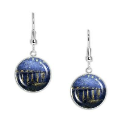 """Starry Night Over the Rhone Van Gogh Art Painting Dangle Earrings 3/4"""" Charms ST"""