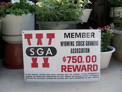 Vtg Wyoming Stock Growers Association Reward Sign WSGA Metal Farm Cattle Ranch