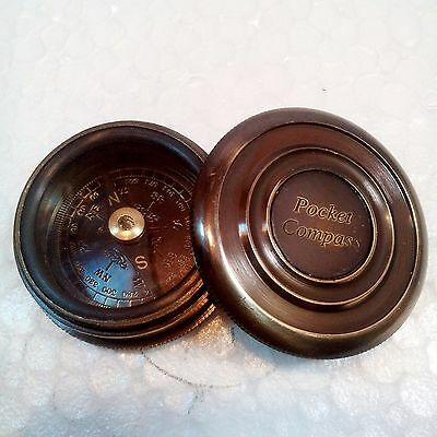 Antique Pocket Style Beautiful Brass Poem Compass With Lid 1885 ~ Mini Compass
