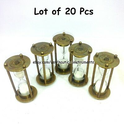 Lot Of 20 Pcs Antique Nautical Hour Glass Handmade Brass Timer