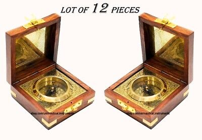 World Brass Magnetic Nautical Compass in wooden Box Christmas Gift ( Lot of 12 )