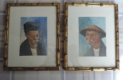 Vintage Pair Chinese Watercolour Bamboo Framed Beautiful Painting Signed Ref41