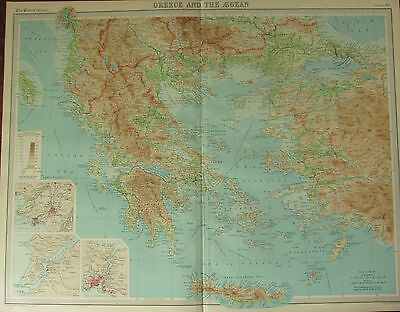 1922 Large Antique Map ~ Greece & The Aegean ~ Environs Athens Constantinople