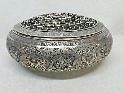 Antique Islamic Magnificent Quality Solid Silver 84 Flowers Bowl Or Vase Lidded