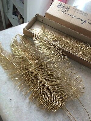 Home Interior / Homco Gold Glitter  Feather Christmas Floral Leaves Set Of 5