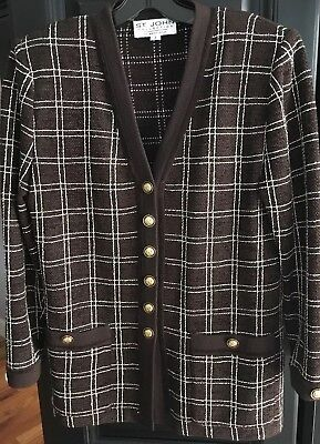 St john Collection Marie Gray Brown And White Jacket Size 2