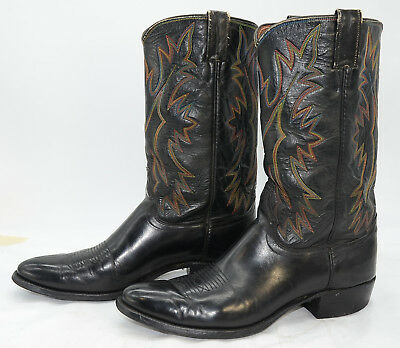 Vtg Justin USA Mens Sz 10 Rainbow Colors Embroidered Leather WESTERN Boots