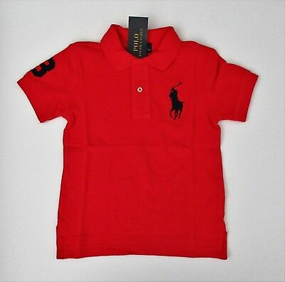NWT Ralph Lauren Toddler Boys SS RED Big Pony Solid Mesh Polo Shirt 2t 3t 4t NEW
