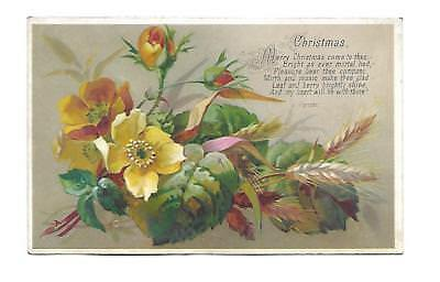 Merry Christmas Come to Thee Fall Flowers Leaves Vict Card  c 1880s