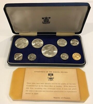 1966 Royal Mint Government of the Bahama Islands 9 Coin Set + Case