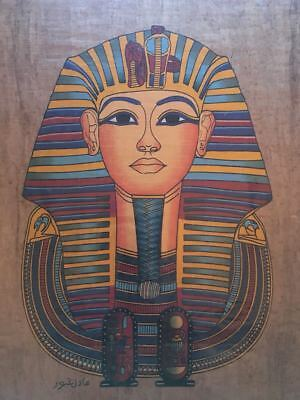 High quality DARK genuine Hand Painted Egyptian Papyrus King TUTANKHAMON +1 FREE