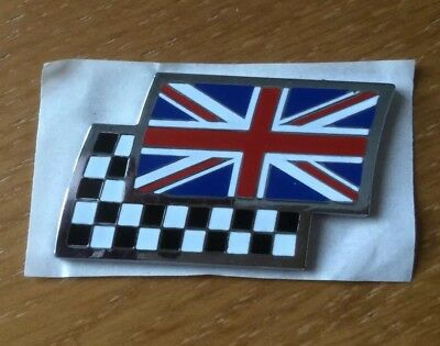 "MG Rover Union Jack/Chequered Flag ""New Genuine"" Badge ZR ZS ZT TF ZTT DAG00070"