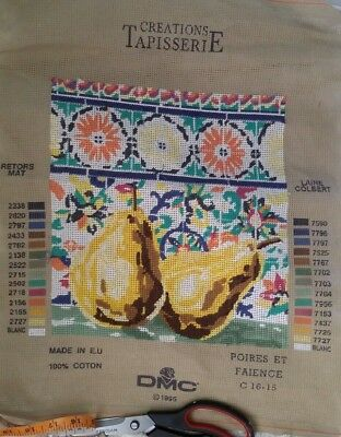 Vintage Tapestry Creations Tapisseri Canvas to sew - Pears VGC