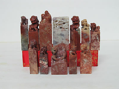 Group Of 12 Fine Old Chinese Shoushan Soapstone Carved Seals