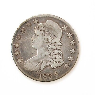 1834 Capped Bust Large Date Silver Half Dollar Coin Circulated Condition