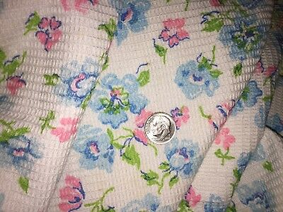 "VINTAGE COTTON WAFFLE WEAVE~FABRIC~BLUE PINK ROSES on WHITE~44""X 3YDS"