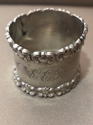 Sterling silver napkin ring having English hallmarks, engraved 'EER'
