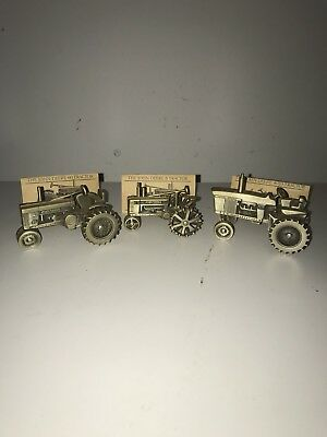 Vintage John Deere Pewter Historic Collection Toy Tractors Lot of 3