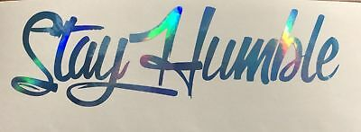 WORK HARD Stay Humble combo Decal sticker JDM holographic illest Blue Oil Slick