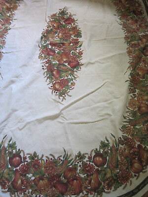 """Large Oval Tablecloth Harvest Theme/THANKSGIVING-INDIAN CORN/SQUASH- 60"""" x 85"""""""