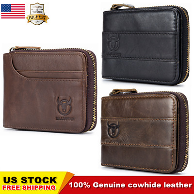 BULLCAPTAIN Men Genuine Leather Antimagnetic Card Slots Coin Wallet Bag US STOCK
