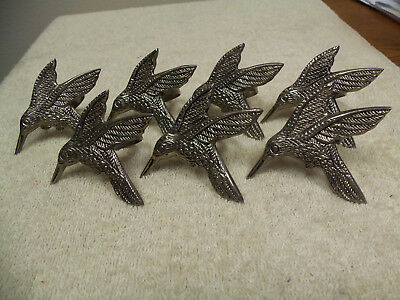 "Vintage Set Of 7 Sterling Silver Hummingbird Napkin Rings - 3-1/4"" X 2-1/2"""
